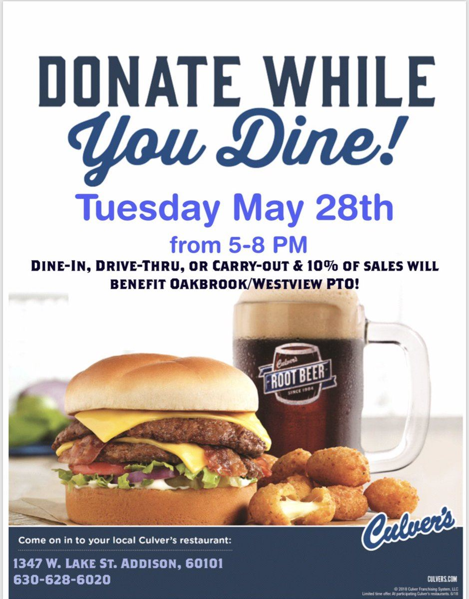 Image result for culver's donate while you dine may 28th addison