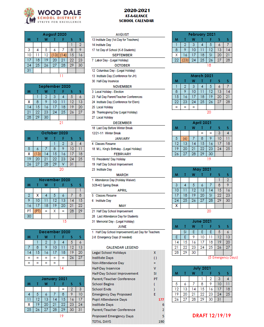 PROPOSED 2020/21 SCHOOL CALENDAR NOW AVAILABLE  --  CALENDARIO PROPUESTO PARA Año 2020/21 AHORA DISPONIBLE